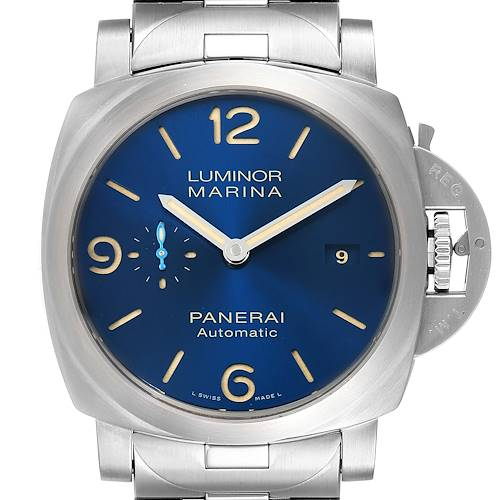 Photo of Panerai Luminor Marina 1950 Blue Dial Steel Watch PAM01058 Box Papers