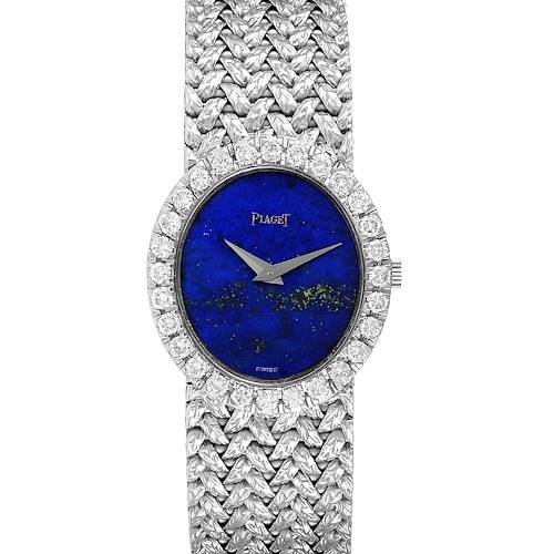 Photo of Piaget Lapis Lazuri Dial White Gold Diamond Vintage Cocktail Ladies Watch 9814
