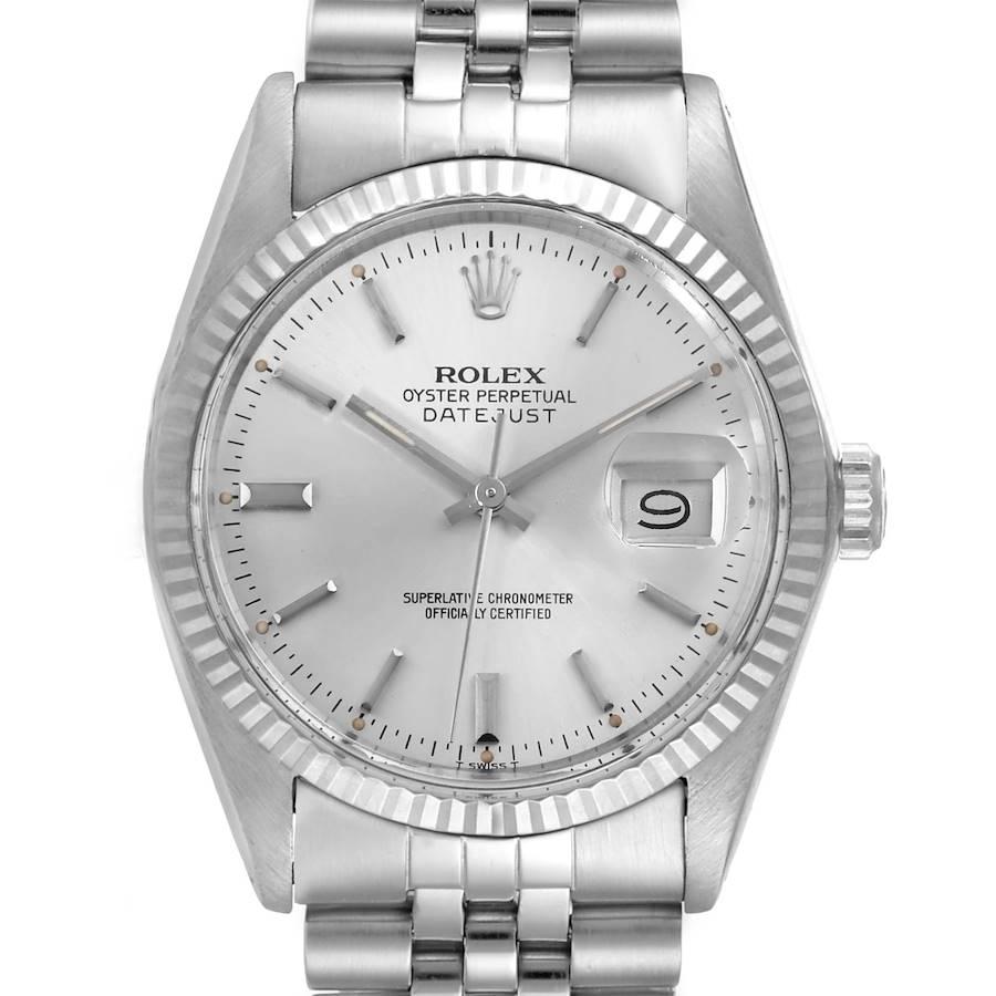 Rolex Datejust Steel White Gold Silver Dial Vintage Mens Watch 16014 SwissWatchExpo