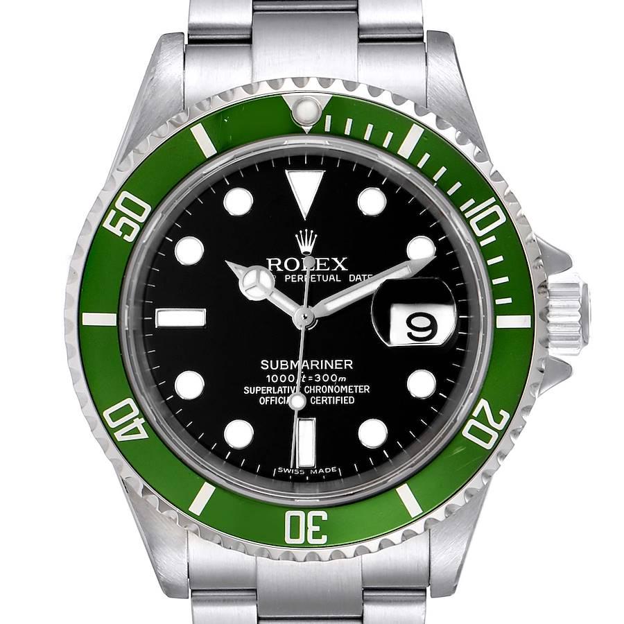 Rolex Submariner 50th Anniversary Green Kermit Steel Mens Watch 16610LV SwissWatchExpo