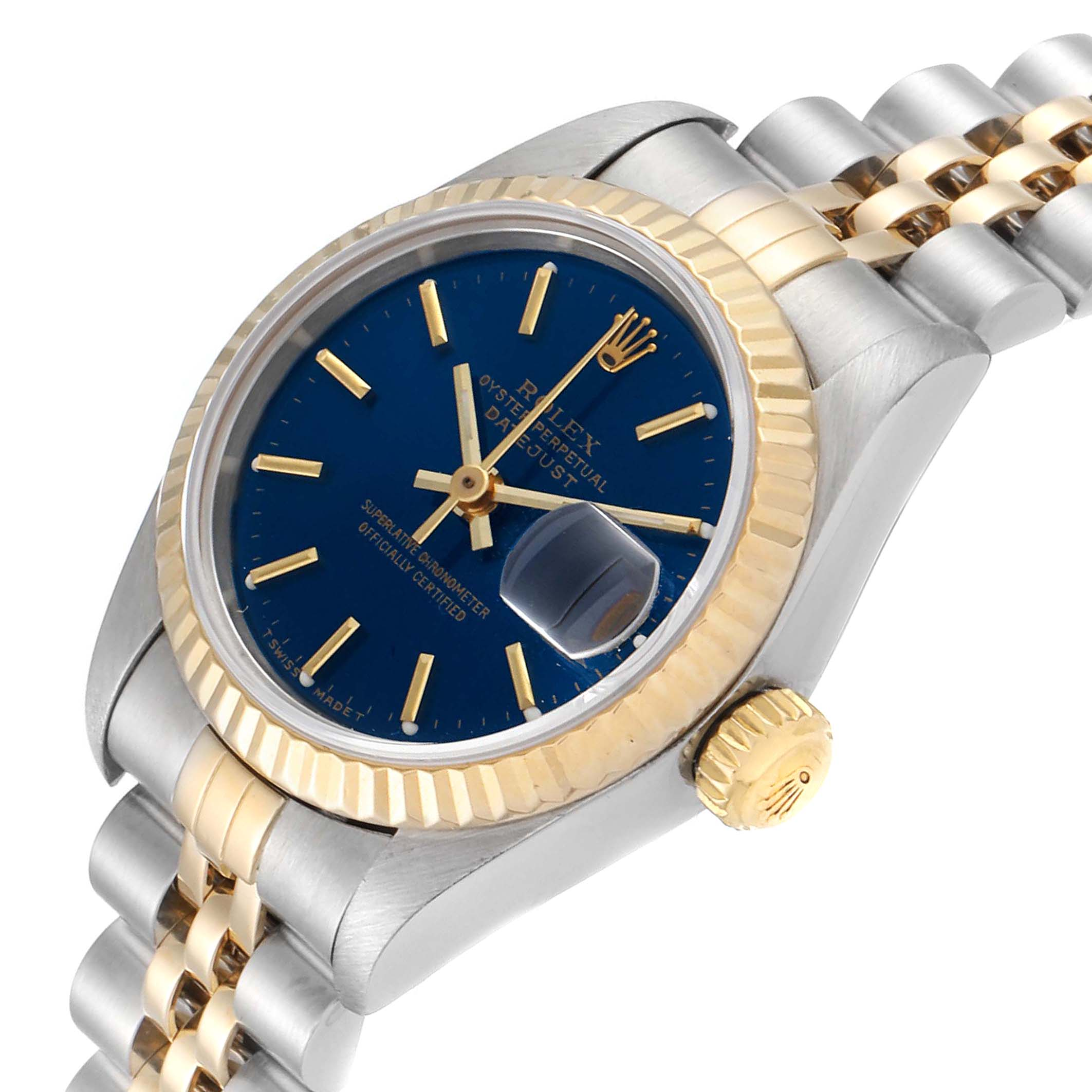 Rolex Datejust Steel Yellow Gold Blue Dial Ladies Watch 79173 SwissWatchExpo