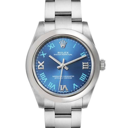 Photo of Rolex Oyster Perpetual Midsize 31 Blue Dial Ladies Watch 177200 Box Papers