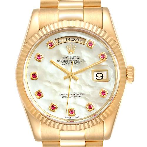 Photo of Rolex President Day Date Yellow Gold MOP Rubies Mens Watch 118238 Box Papers