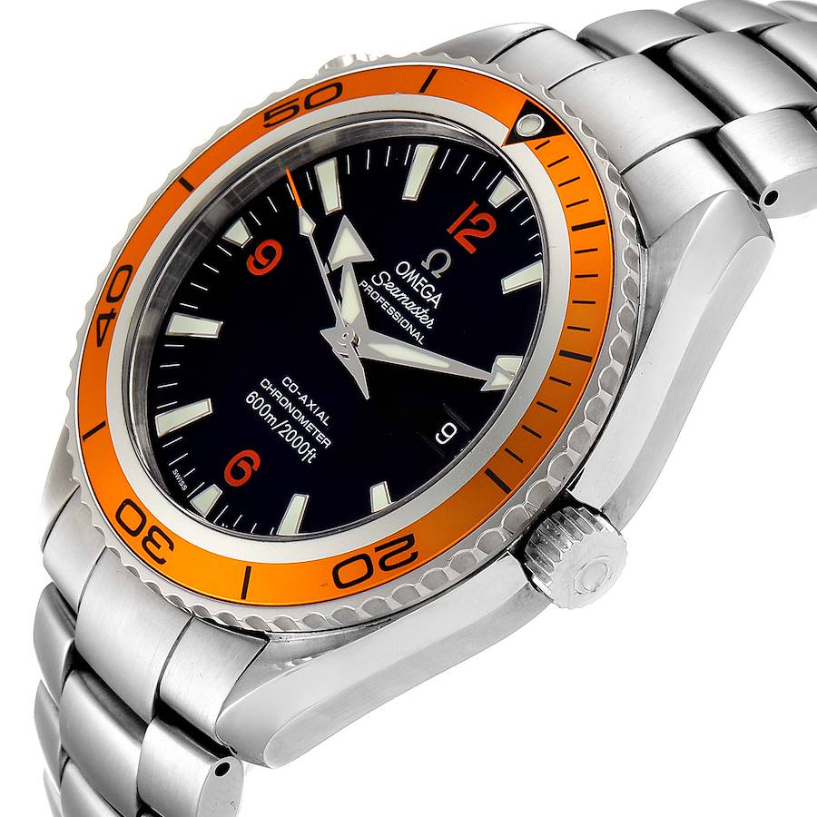 Omega Seamaster Planet Ocean XL Orange Bezel Mens Watch 2208.50.00 SwissWatchExpo