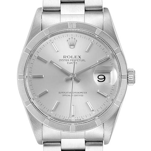 Photo of Rolex Date Silver Dial Oyster Bracelet Steel Mens Watch 15210 Box Papers