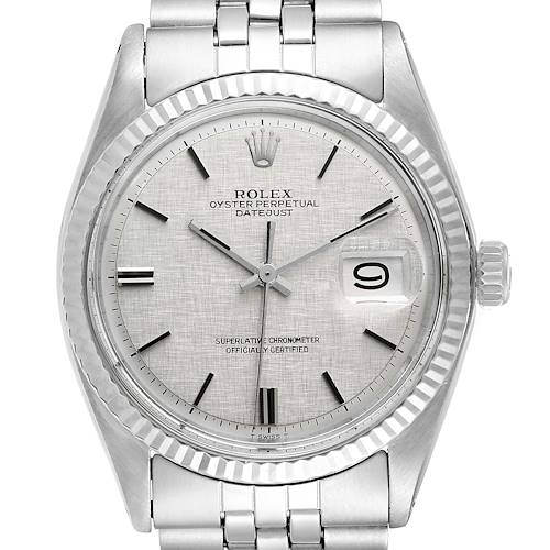 Photo of Rolex Datejust Steel White Gold Linen Dial Vintage Watch 1601