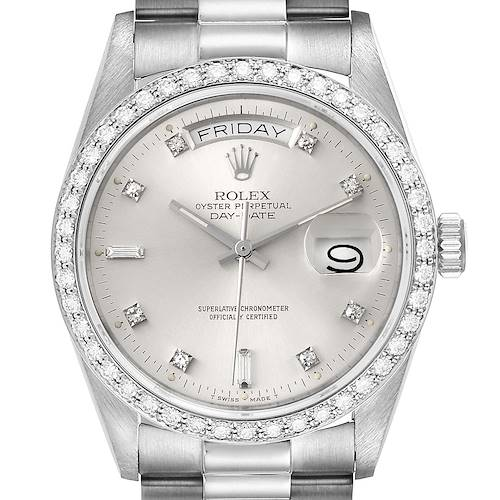 Photo of Rolex President Day-Date White Gold Diamond Dial Bezel Watch 18049