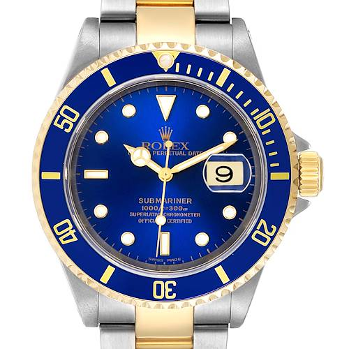 Photo of Rolex Submarine Blue Dial Steel Yellow Gold Mens Watch 16613 Box Papers