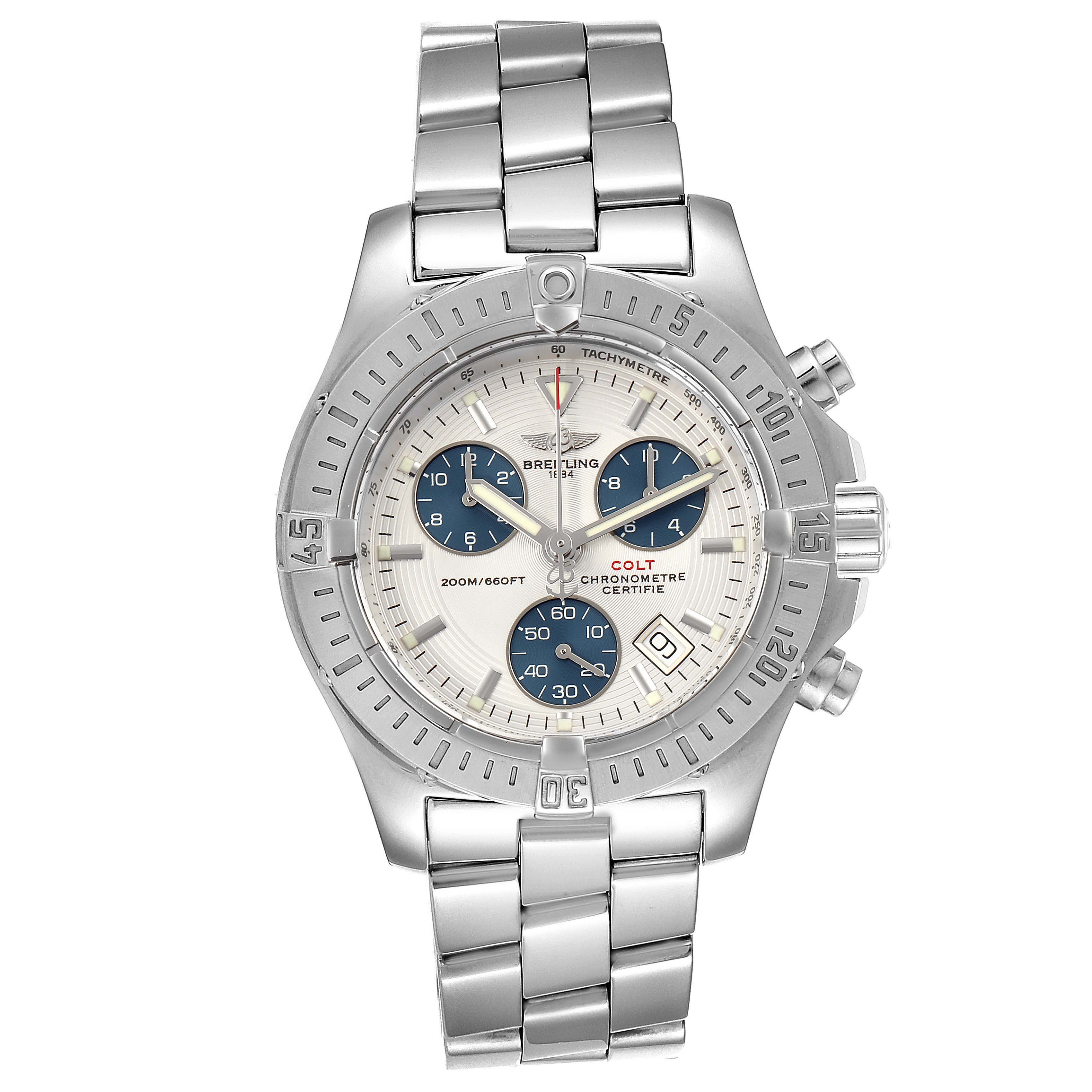 Breitling Colt Chronograph Blue Subdials Steel Mens Watch A73380 SwissWatchExpo