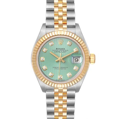 Photo of Rolex Datejust 28 Steel Yellow Gold Green Diamond Dial Ladies Watch 279173