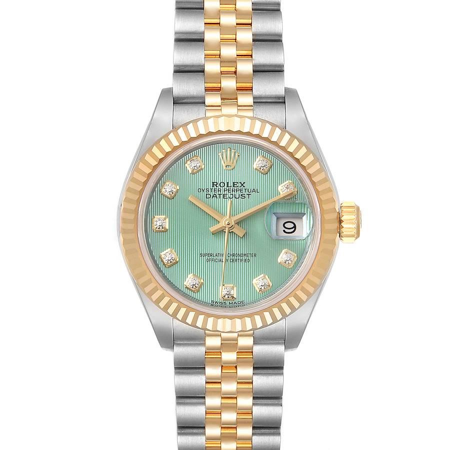 Rolex Datejust 28 Steel Yellow Gold Green Diamond Dial Ladies Watch 279173 SwissWatchExpo