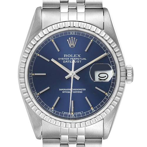 Photo of Rolex Datejust Blue Dial Jubilee Bracelet Steel Mens Watch 16220