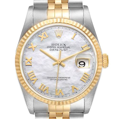 Photo of Rolex Datejust Steel Yellow Gold Mother of Pearl Dial Mens Watch 16233