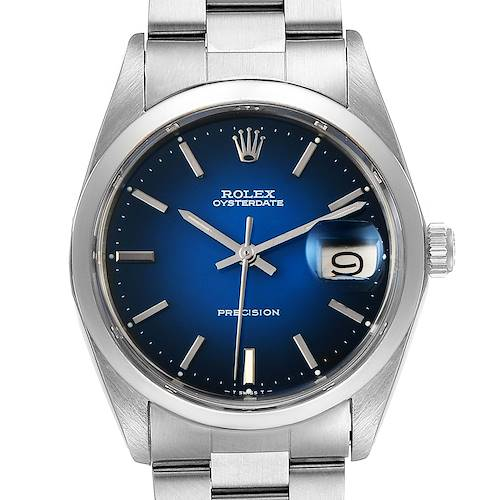 Photo of Rolex OysterDate Precision Blue Vignette Dial Vintage Mens Watch 6694