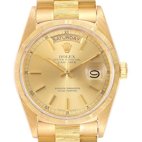 Photo of Rolex President Day-Date Yellow Gold Bark Finish Mens Watch 18078 Papers