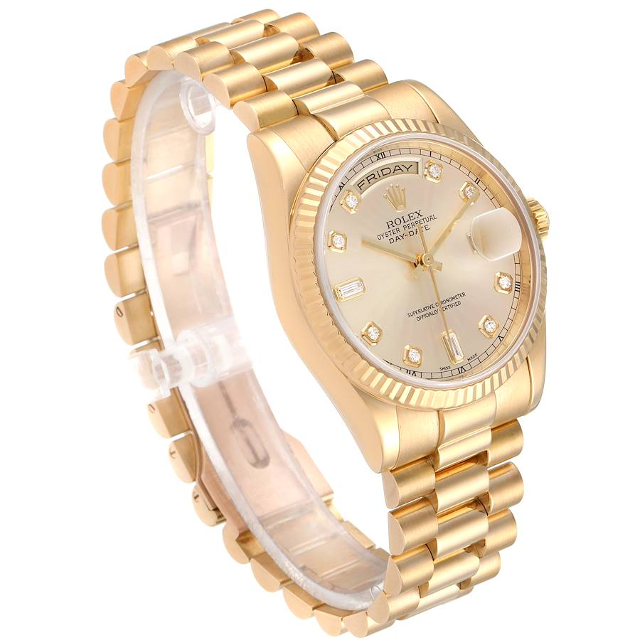 Rolex President Day Date Yellow Gold Diamond Mens Watch 118238 Box Papers SwissWatchExpo