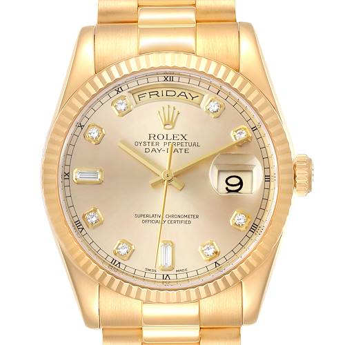 Rolex President Day Date Yellow Gold Diamond Mens Watch 118238 Box Papers