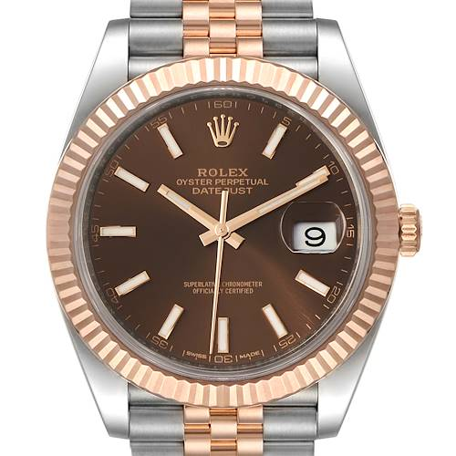 Photo of Rolex Datejust 41 Steel Everose Gold Chocolate Dial Watch 126331 Box Card