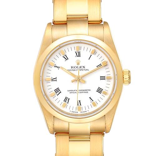 Photo of Rolex Midsize President 31 Yellow Gold White Dial Ladies Watch 67488
