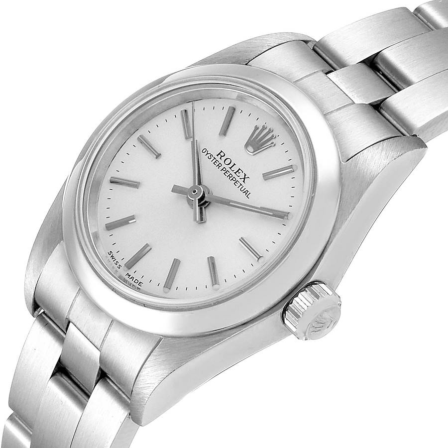 Rolex Oyster Perpetual Silver Dial Steel Ladies Watch 76080 Papers SwissWatchExpo