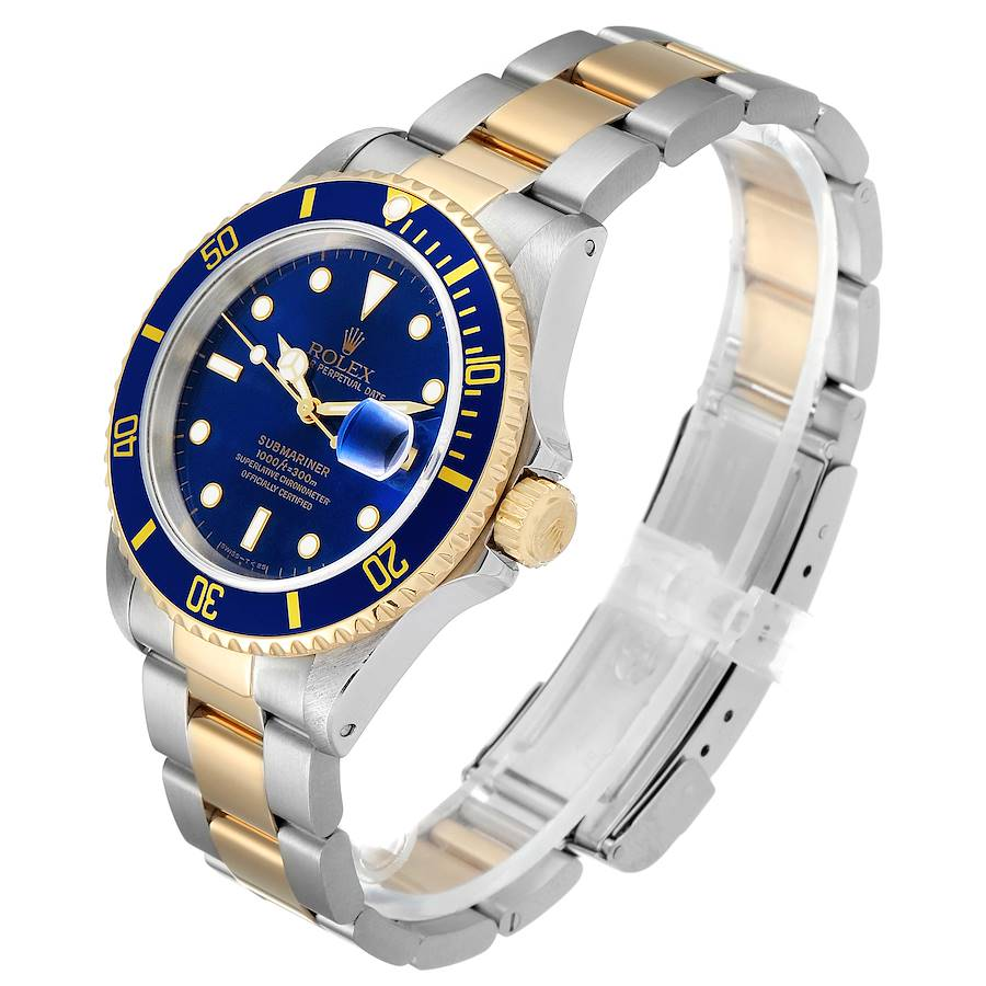Rolex Submariner Blue Dial Steel Yellow Gold Mens Watch 16613 Papers SwissWatchExpo