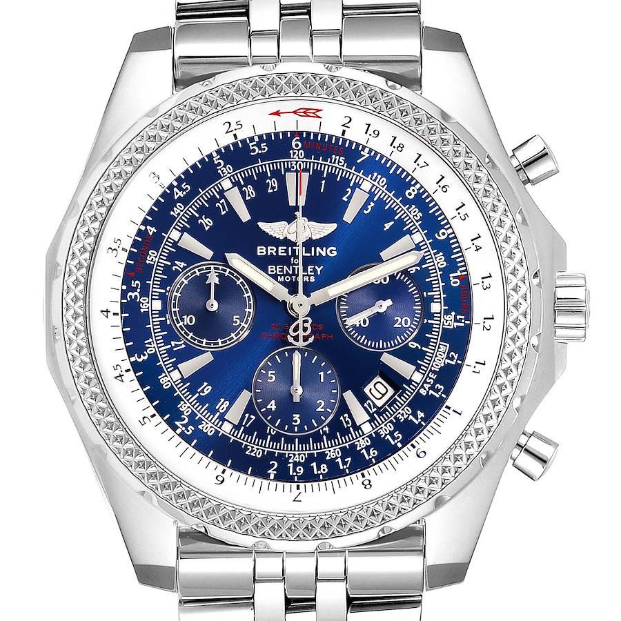 Breitling Bentley Motors Blue Dial Chronograph Steel Mens Watch A25362 SwissWatchExpo