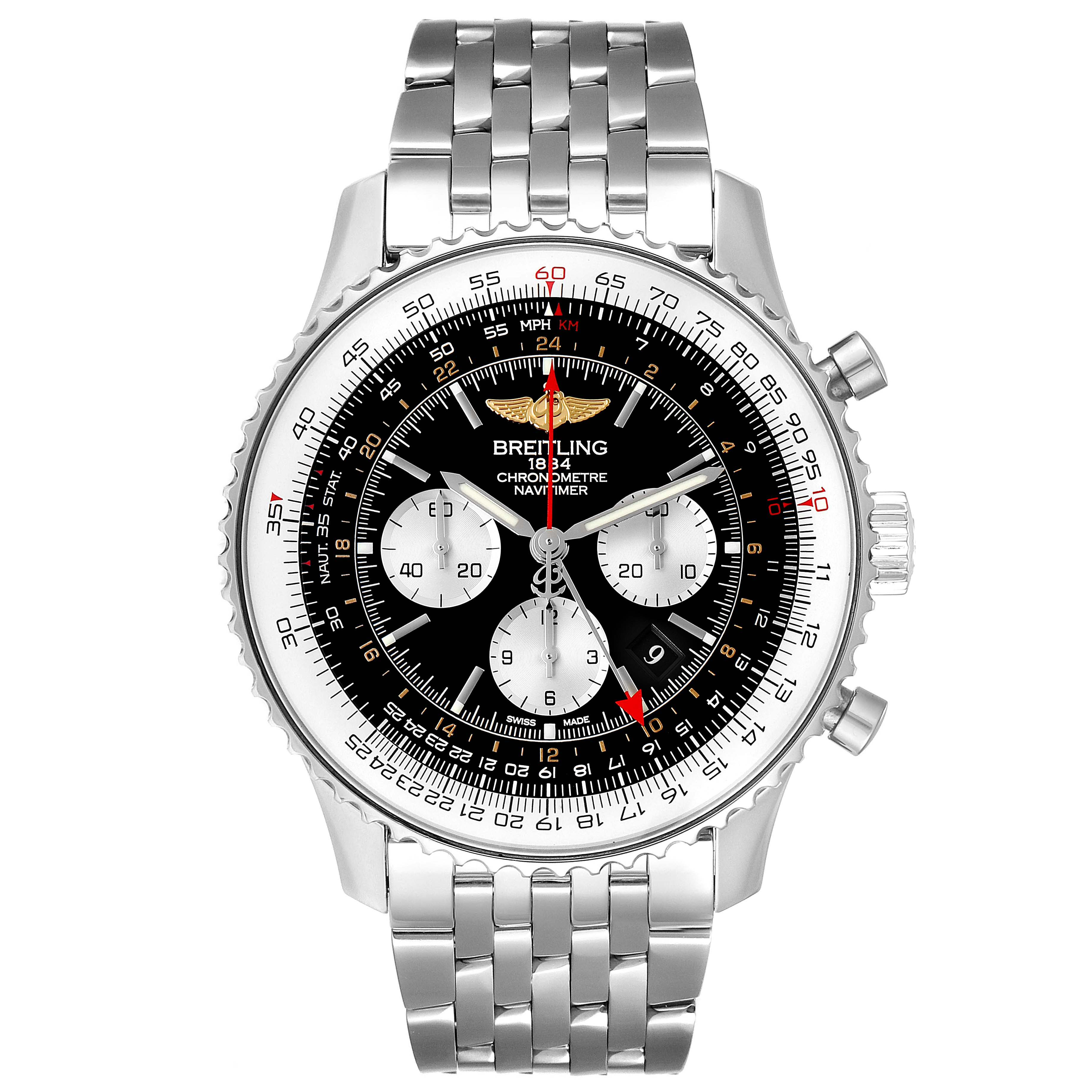 Breitling Navitimer GMT 48 Black Dial Steel Mens Watch AB0441 Box Papers SwissWatchExpo