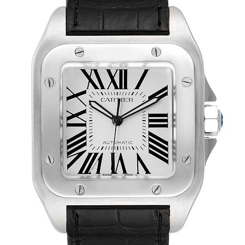 Photo of Cartier Santos 100 Black Strap Steel Mens Watch W20073X8 Papers