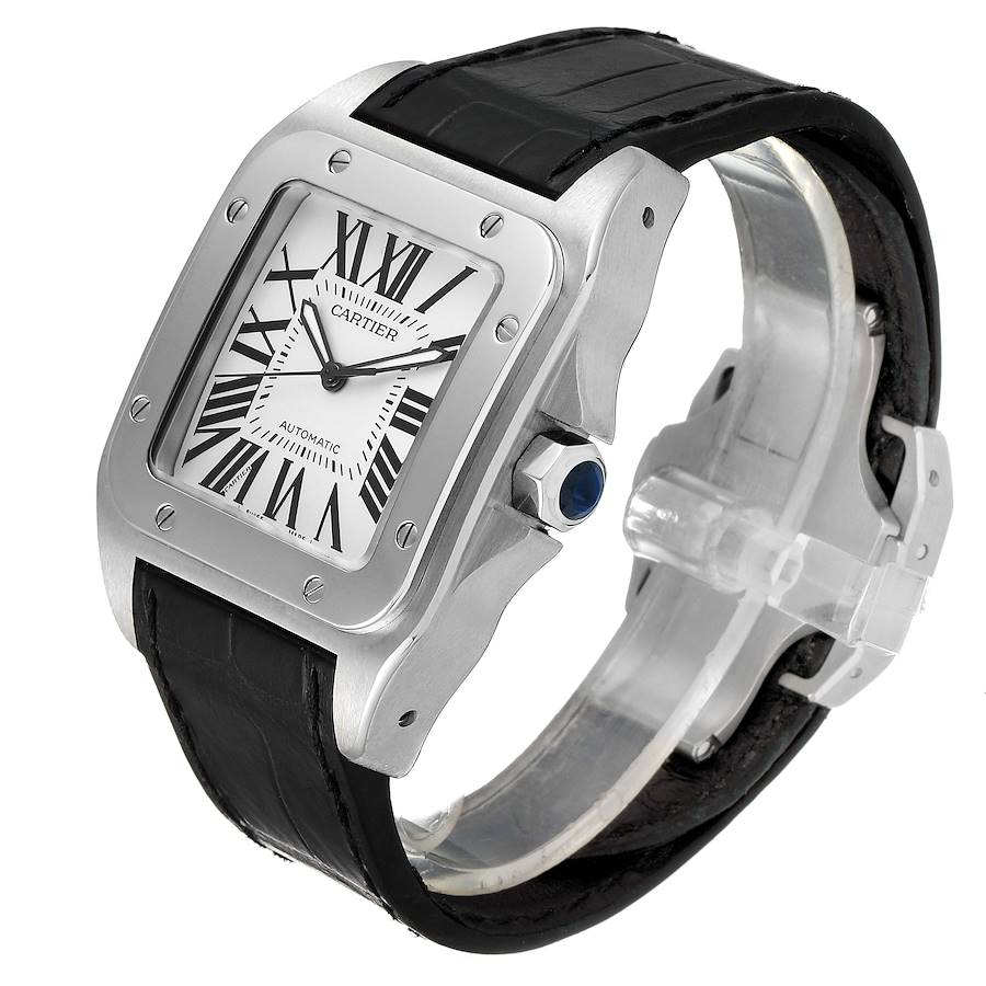 Cartier Santos 100 Black Strap Steel Mens Watch W20073X8 Papers SwissWatchExpo