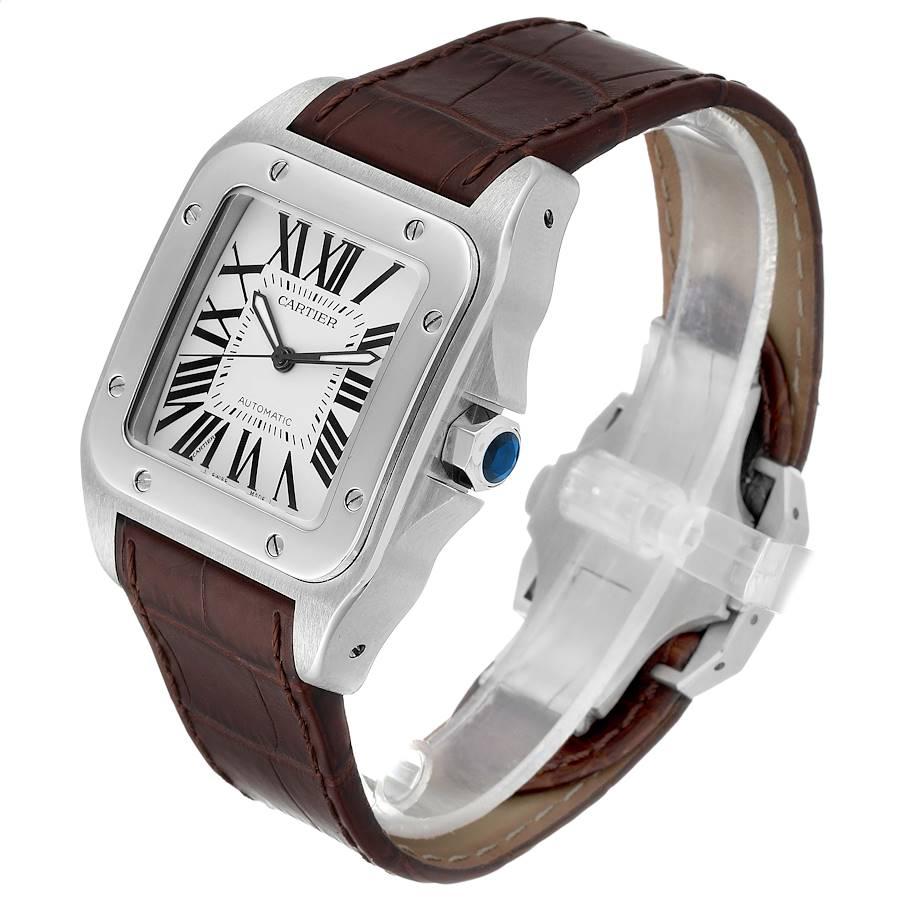 Cartier Santos 100 Brown Strap Steel Mens Watch W20073X8 Box Papers SwissWatchExpo