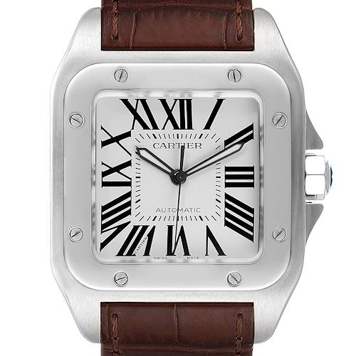 Photo of Cartier Santos 100 Brown Strap Steel Mens Watch W20073X8 Box Papers