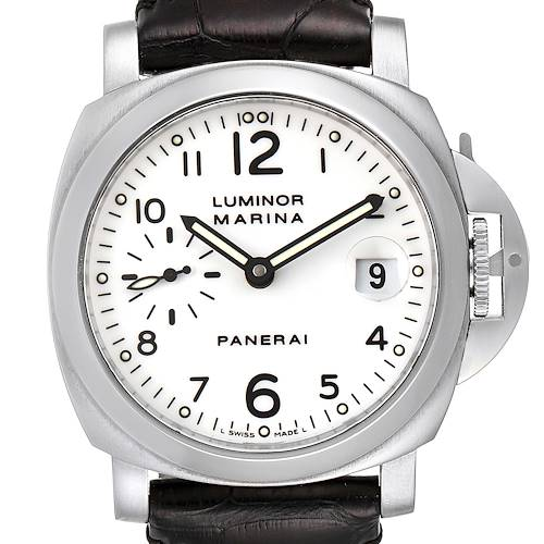 Photo of Panerai Luminor Marina 40 White Dial Mens Watch PAM00049 Box Papers