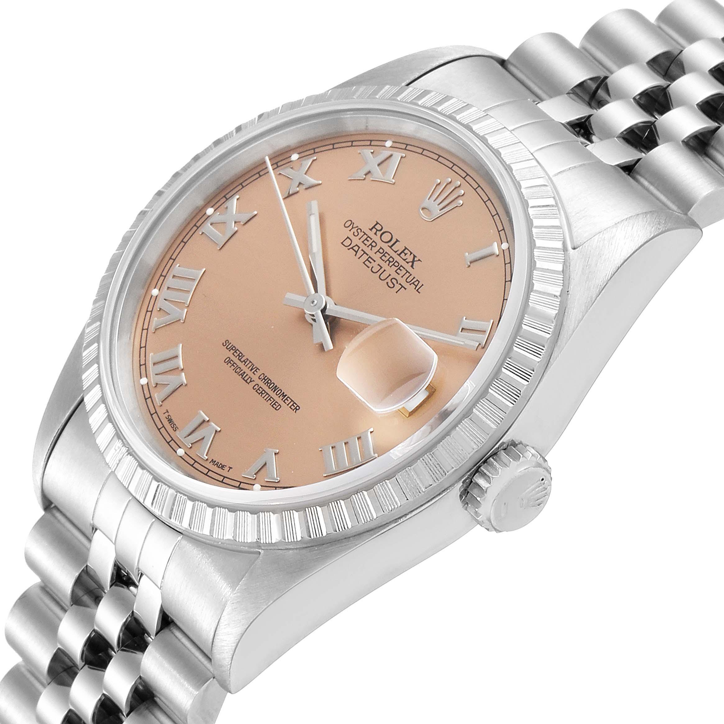 Rolex Datejust 36 Salmon Roman Dial Steel Mens Watch 16220 SwissWatchExpo