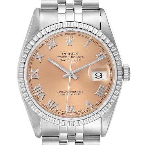 Photo of Rolex Datejust 36 Salmon Roman Dial Steel Mens Watch 16220
