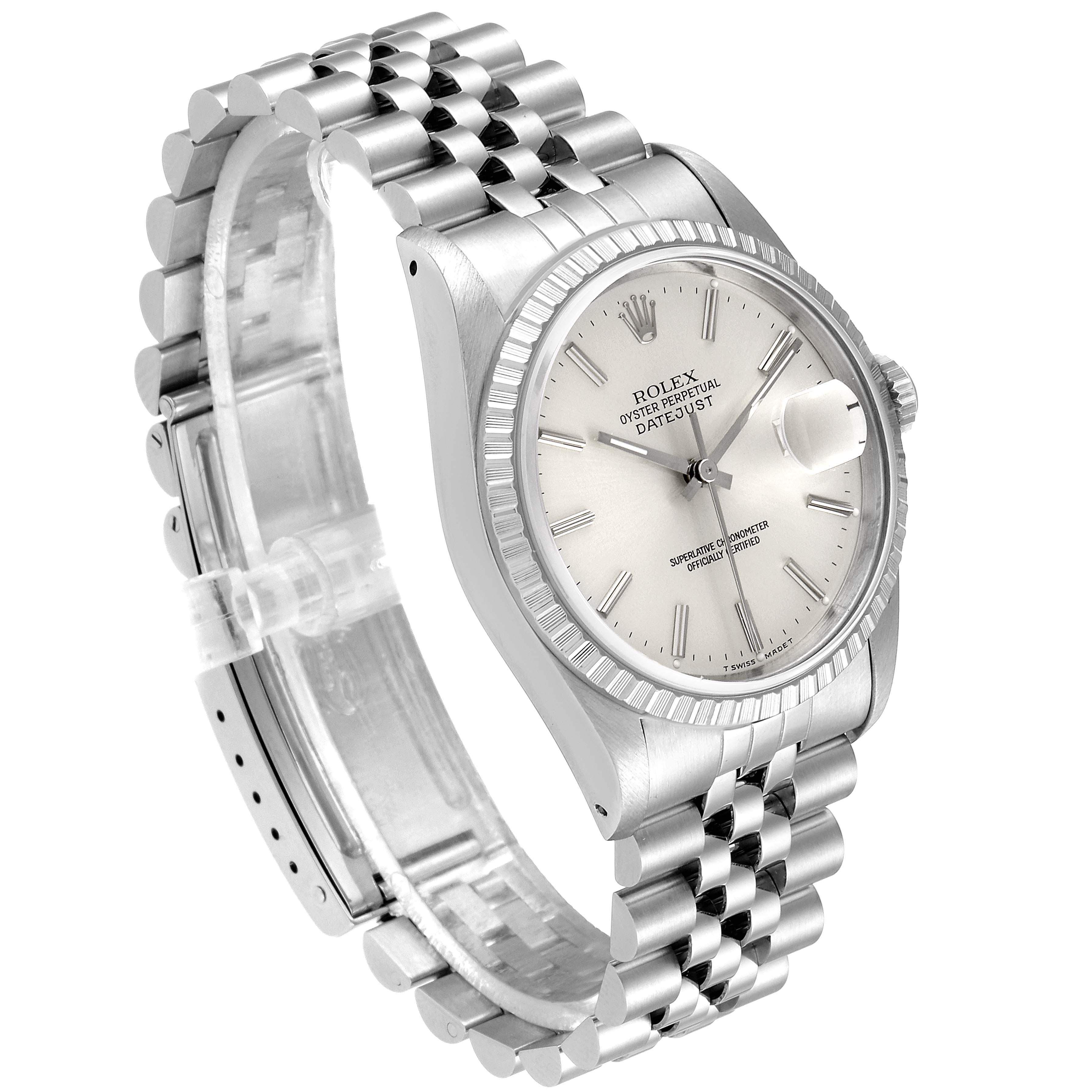 Rolex Datejust Silver Dial Jubilee Bracelet Steel Mens Watch 16220 SwissWatchExpo