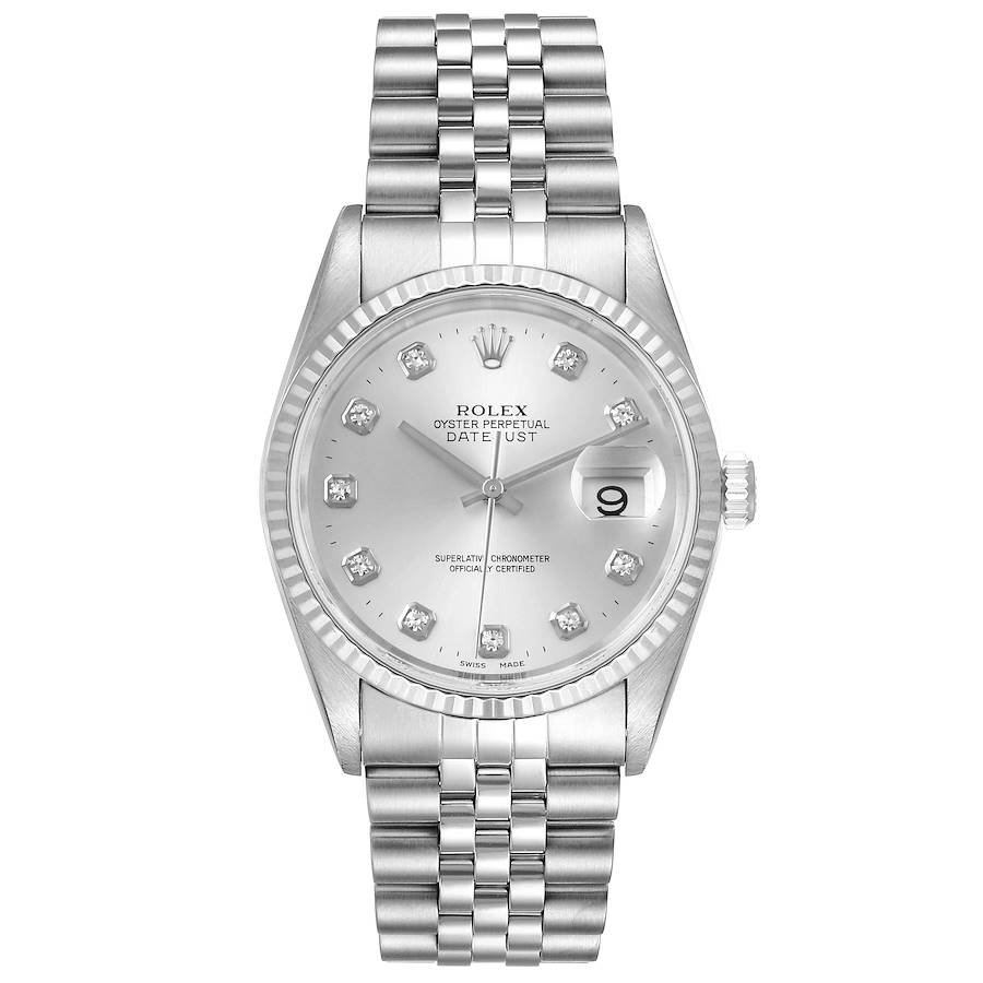 Rolex Datejust Steel White Gold Silver Diamond Dial Mens Watch 16234 SwissWatchExpo
