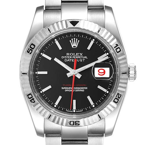 Photo of Rolex Datejust Turnograph Black Dial Steel Mens Watch 116264 Box