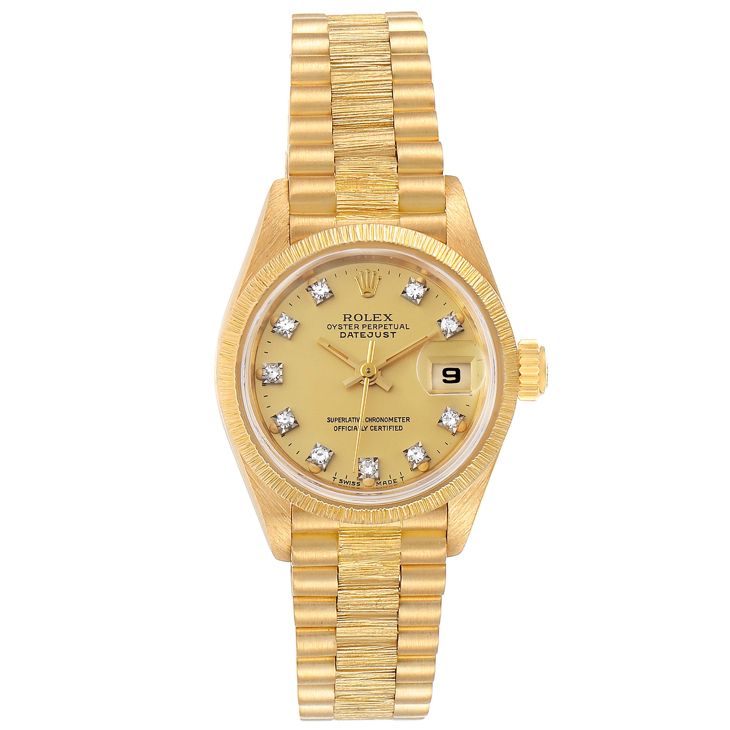 Rolex President Datejust 26 Yellow Gold Diamond Ladies Watch 69278 SwissWatchExpo