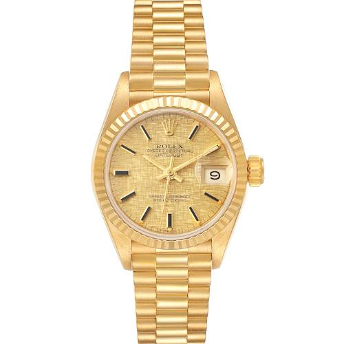 Photo of Rolex President Datejust Linen Dial Yellow Gold Ladies Watch 69178