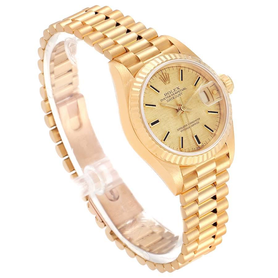 Rolex President Datejust Linen Dial Yellow Gold Ladies Watch 69178 SwissWatchExpo