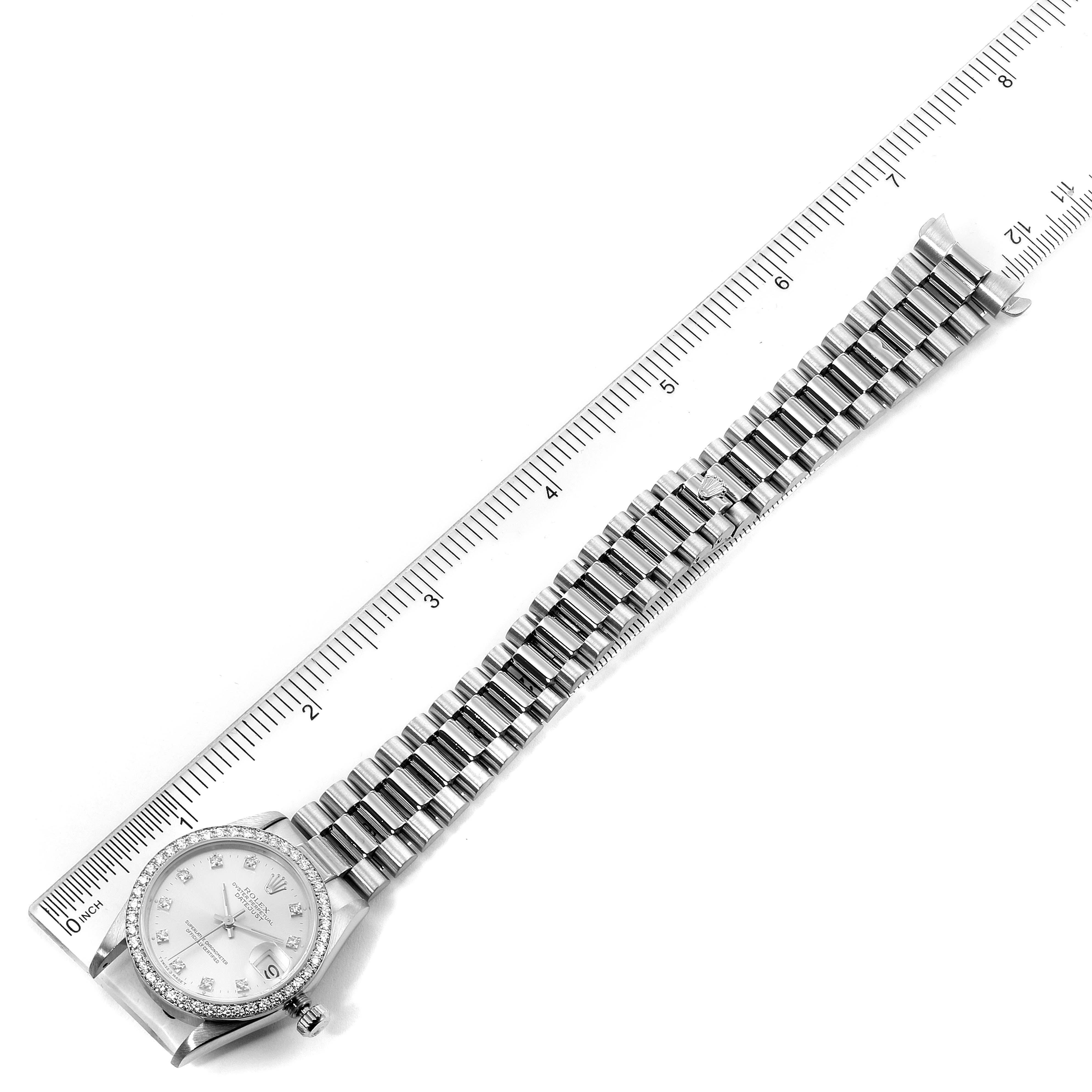 Rolex President Datejust Midsize White Gold Diamond Ladies Watch 68289 SwissWatchExpo