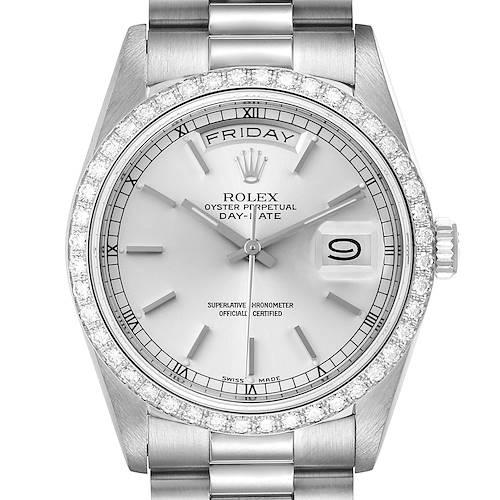 Photo of Rolex President Day-Date White Gold Diamond Dial Bezel Watch 18349