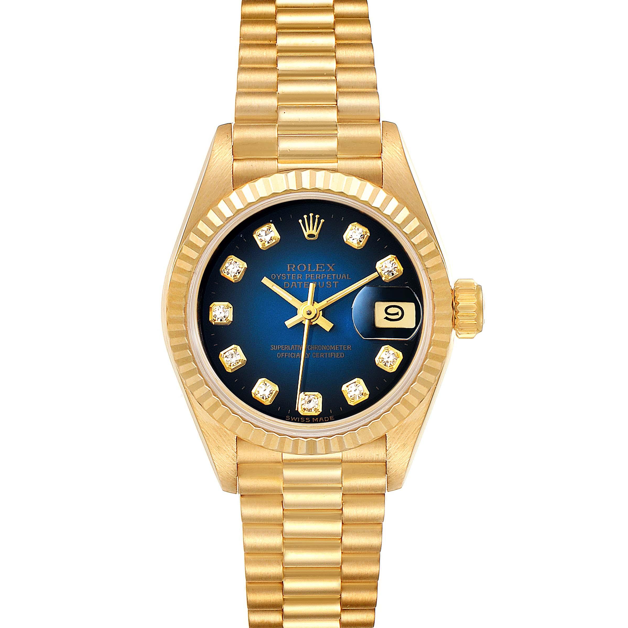 Rolex President Yellow Gold Vignette Diamond Dial Ladies Watch 69178 SwissWatchExpo