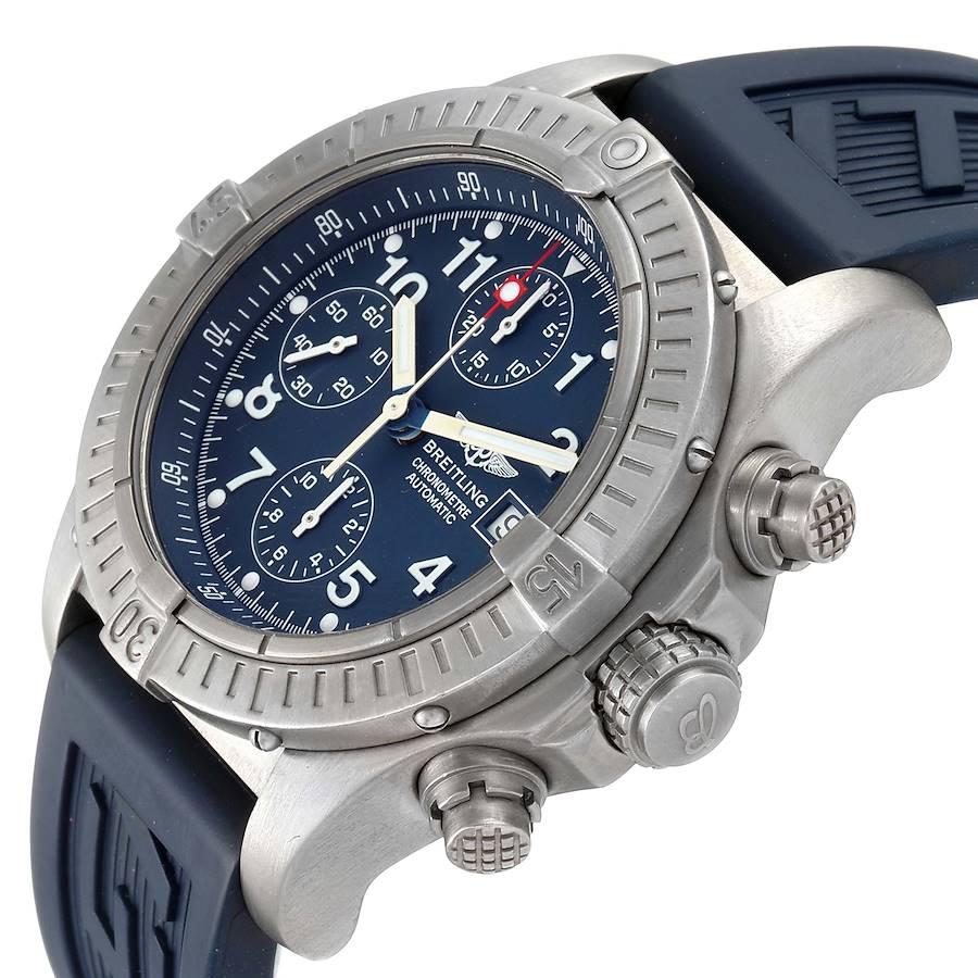 Breitling Avenger Blue Dial Chronograph Titanium Watch E13360 SwissWatchExpo