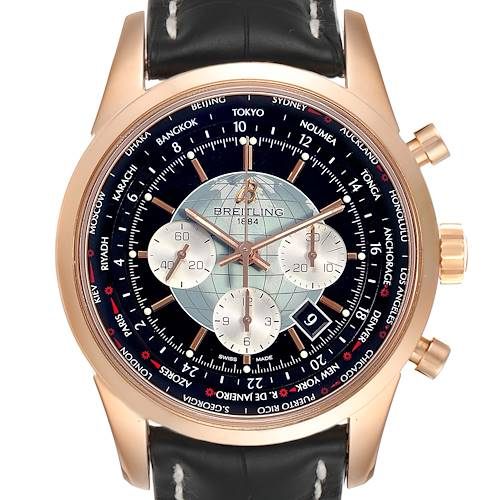 Photo of Breitling Transocean Chronograph Unitime Rose Gold Watch RB0510 Box Papers