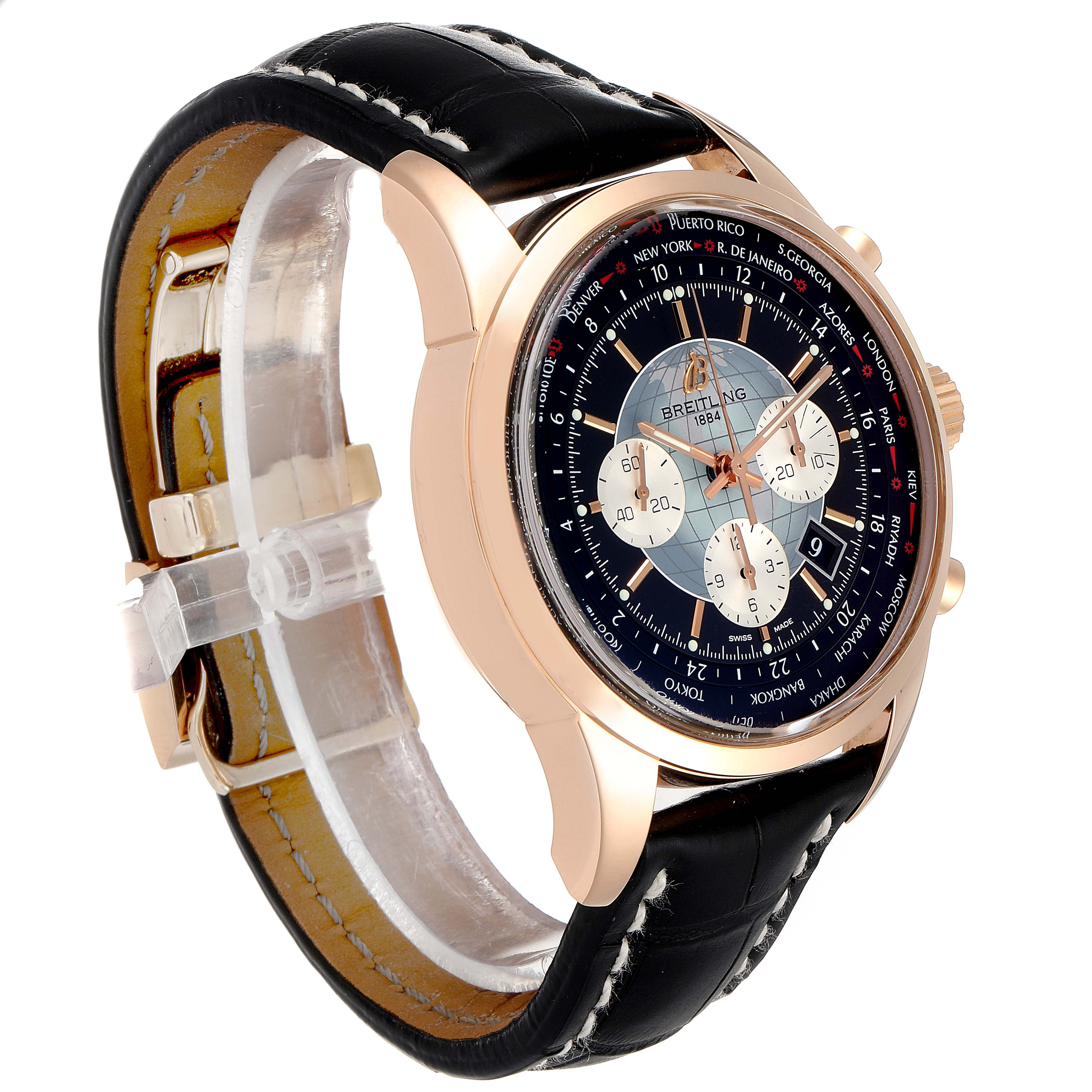 Breitling Transocean Chronograph Unitime Rose Gold Watch RB0510 Box Papers SwissWatchExpo