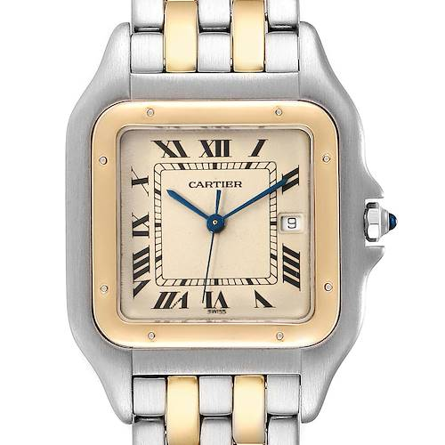 Photo of Cartier Panthere Jumbo Steel Yellow Gold Two Row Unisex Watch 187957