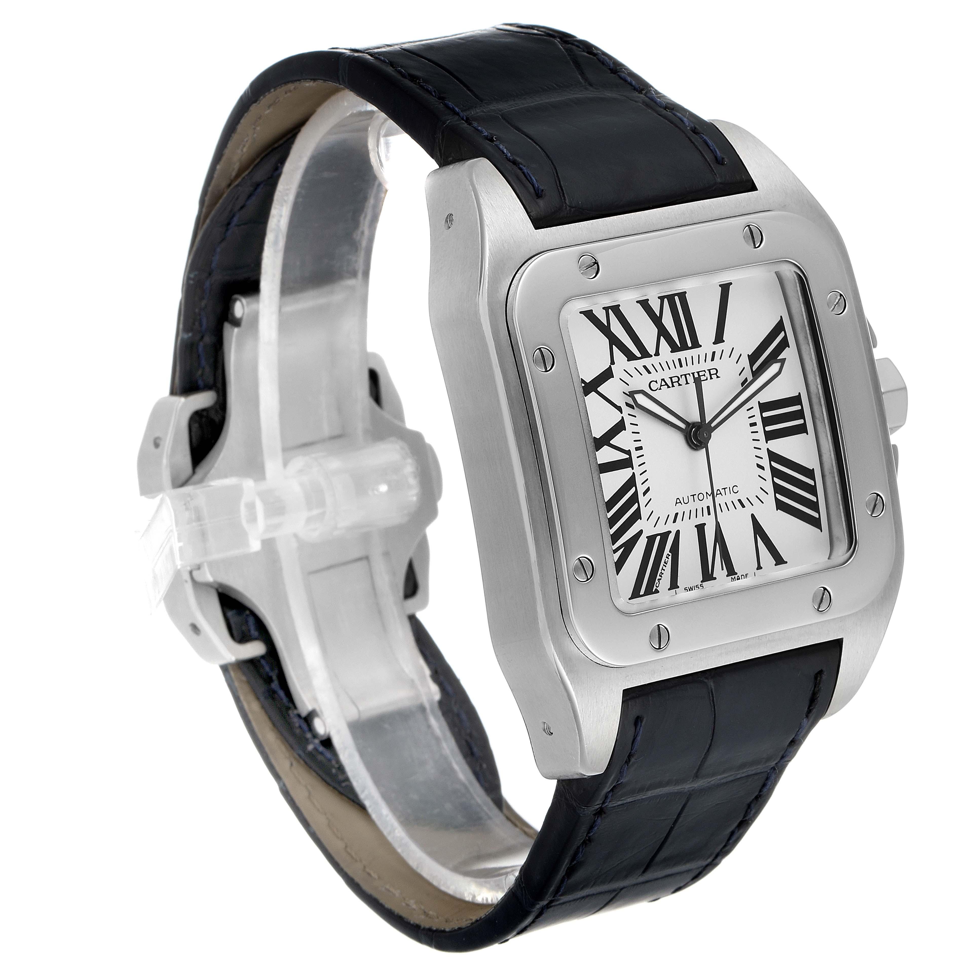 Cartier Santos 100 Silver Dial Black Strap Steel Mens Watch W20073X8 SwissWatchExpo