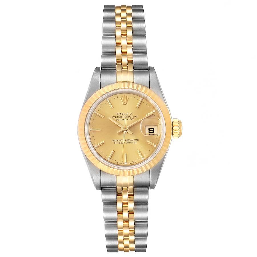 Rolex Datejust Steel Yellow Gold Fluted Bezel Ladies Watch 69173 SwissWatchExpo