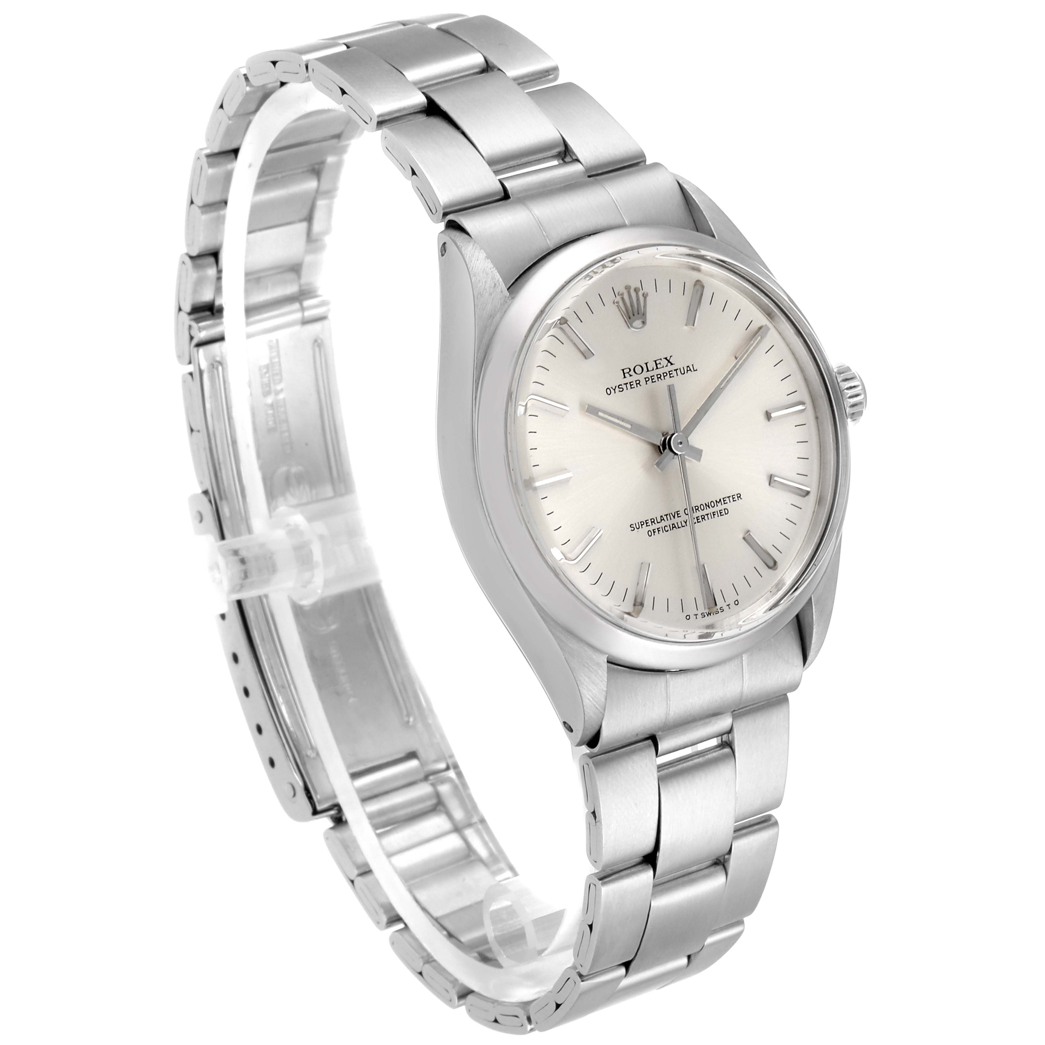 Rolex Oyster Perpetual Silver Dial Vintage Steel Mens Watch 1002 SwissWatchExpo
